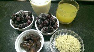 Brombeeren, Soja-Vanille-Joghurt, Apfelsaft, getr. Datteln, Hanfsamen
