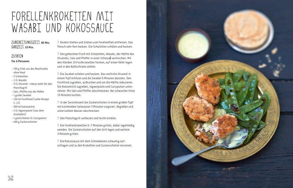 Fisch-Rezept - Forellenkroketten mit Wasabi und Kokossauce