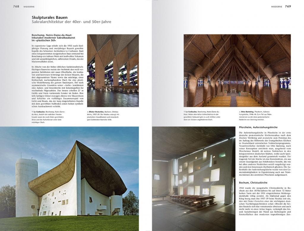 Christliche Kunst und moderne Architektur: Die Kirche von Notre-Dame-du-Haut von Ronchamp (unten links) und ihr lichtverspielter Innenraum (unten rechts), Foto: © FLC/ VG Bild-Kunst, Bonn 2010: Le Corbusier