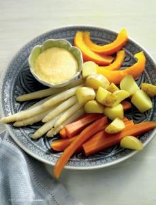 Dämpfgemüse mit Orangen-Dip