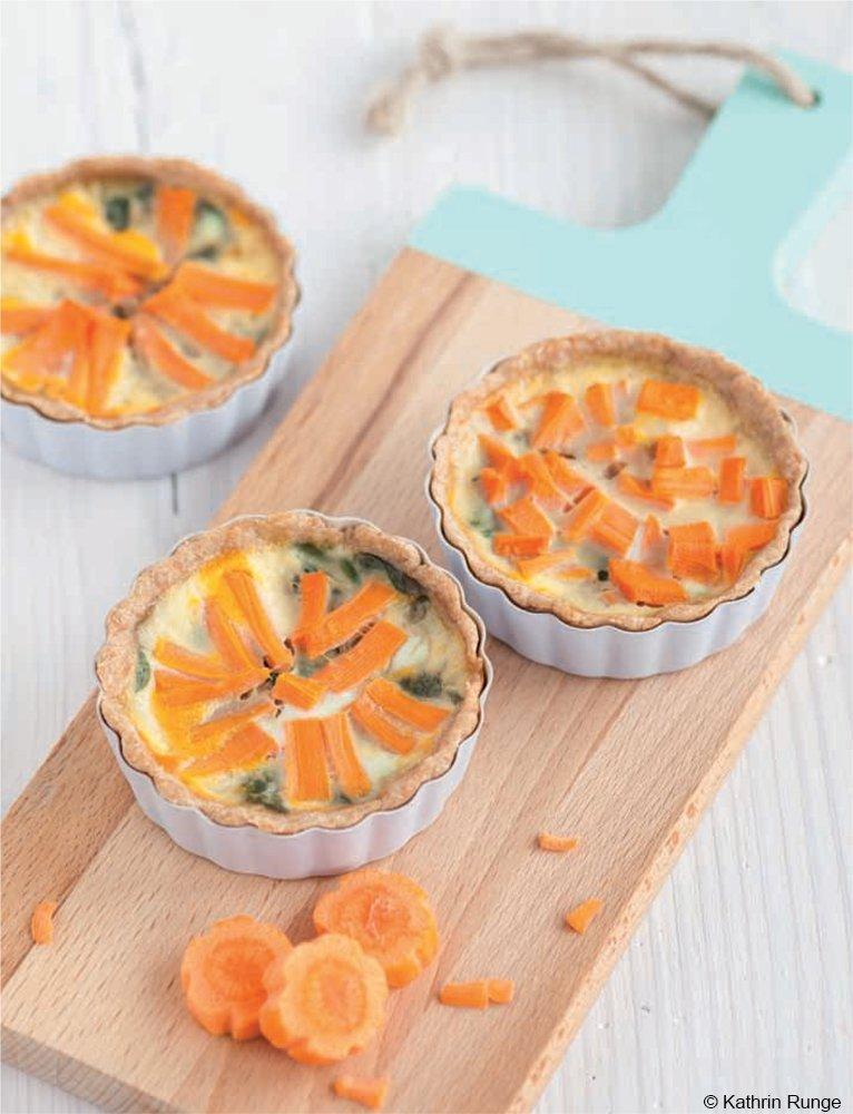 Mini-Quiches mit Karotten und Spinat