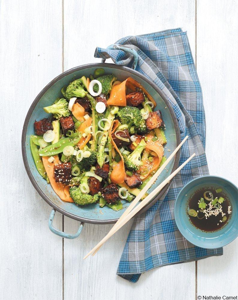 Gemüse aus dem Wok mit karamellisiertem Tofu