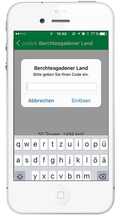 Kompass App - Touren-Code eingeben