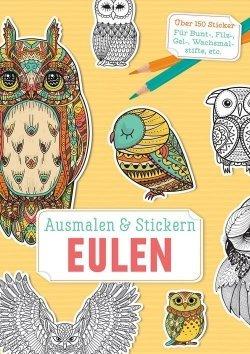 Ausmalen und Stickern: Eulen