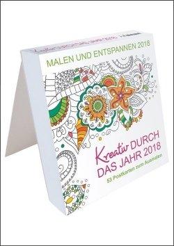 Kreativ durch das Jahr 2018 – 53 Postkarten zum Ausmalen