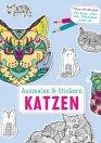 Ausmalen und Stickern: Katzen