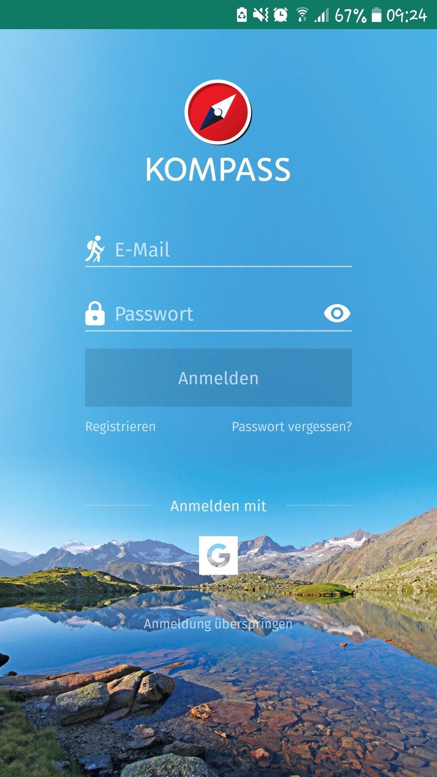 Kompass App - Startbildschirm