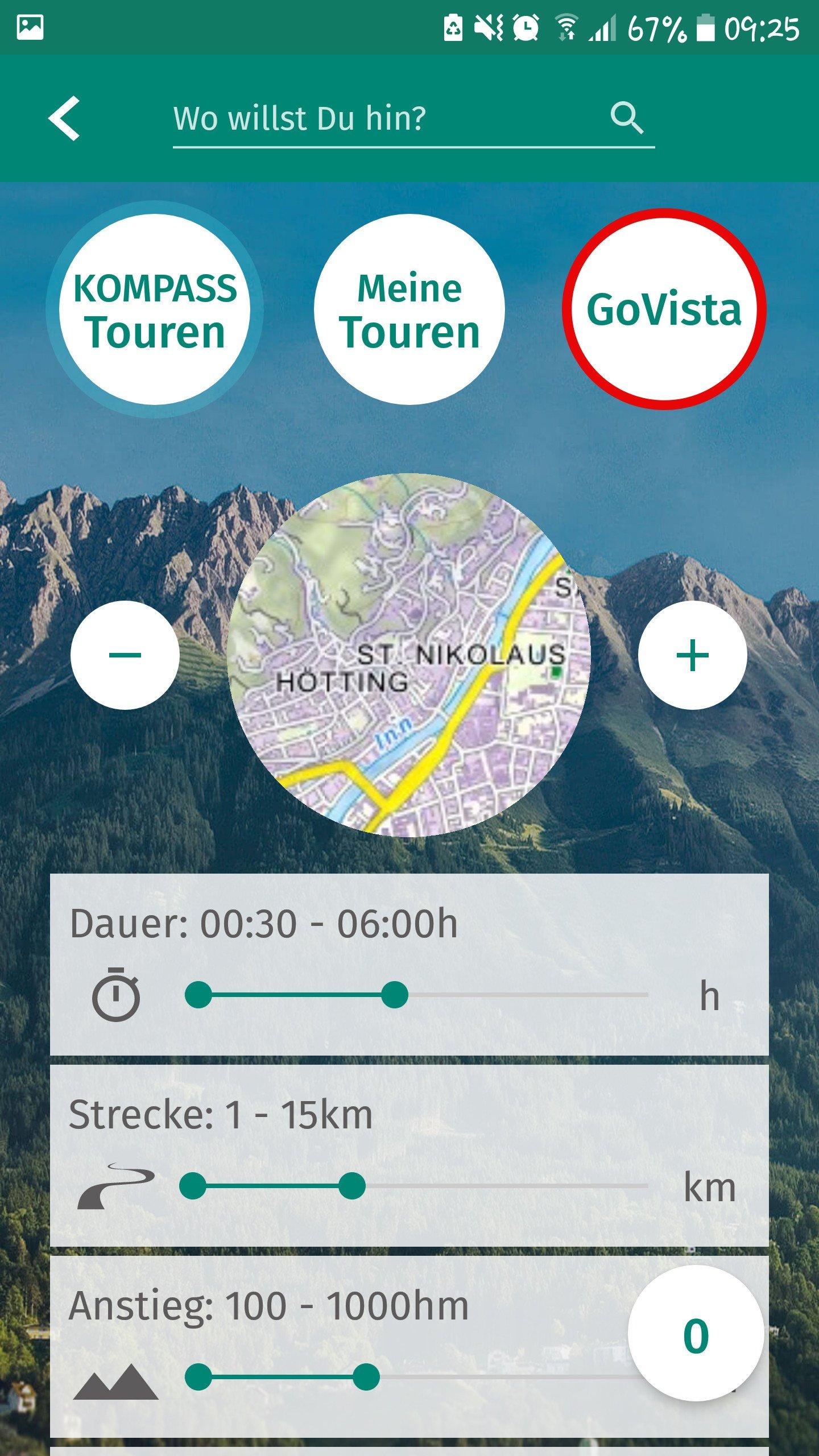 Kompass App - Liste der Touren