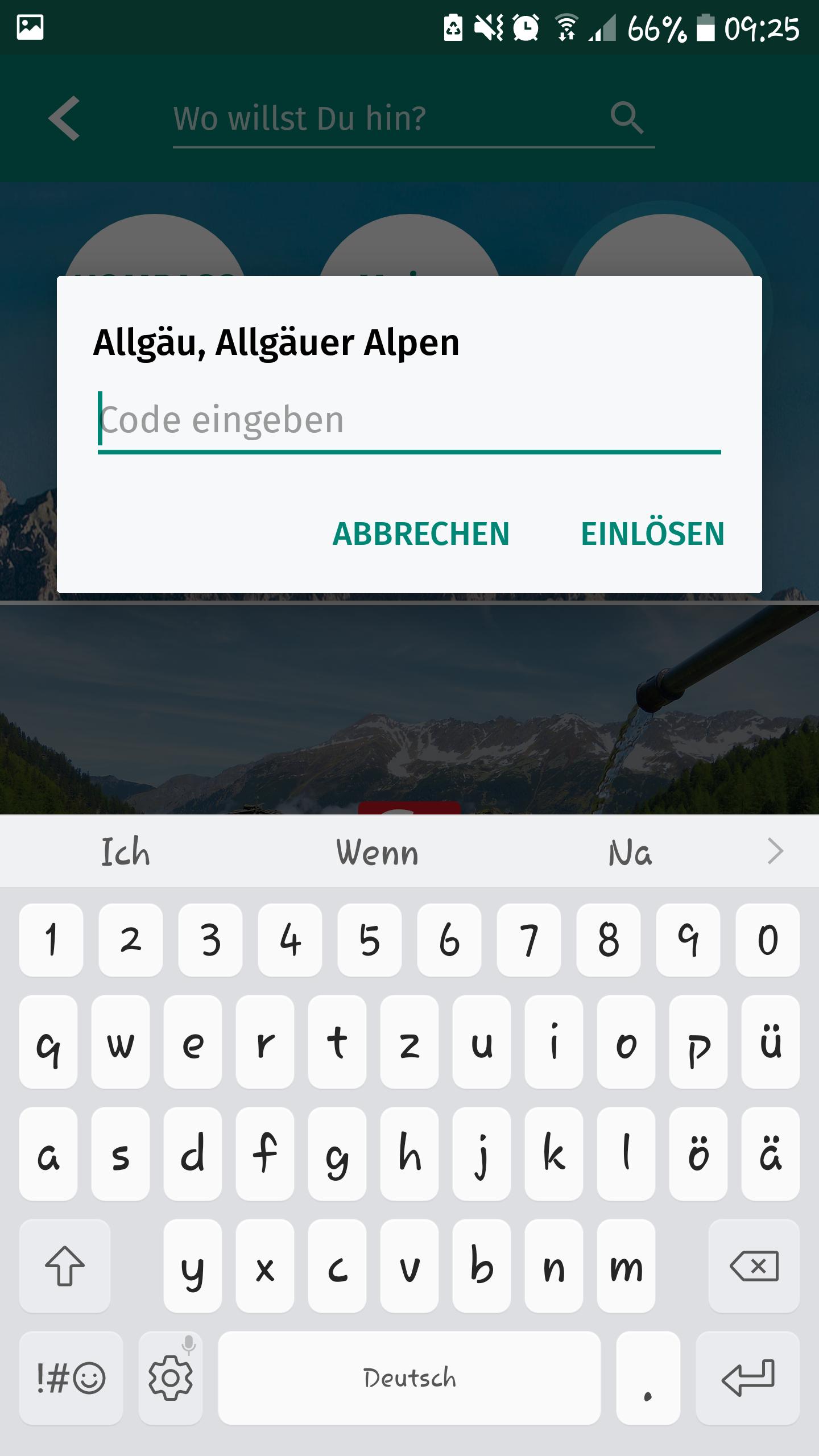 Kompass App - Code eingeben